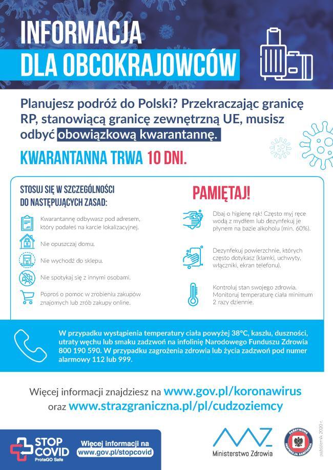 Plakat informacja dla obcokrajowcow